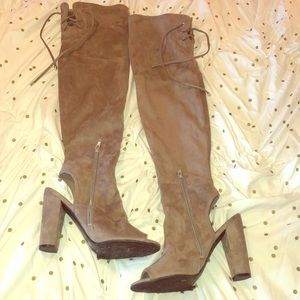 Over the Knee Peep Toe And Heel Boots